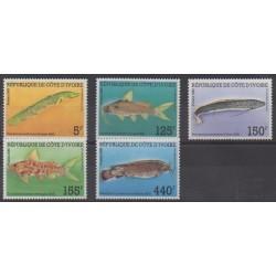 Ivory Coast - 1986 - Nb 763/767 - Sea life