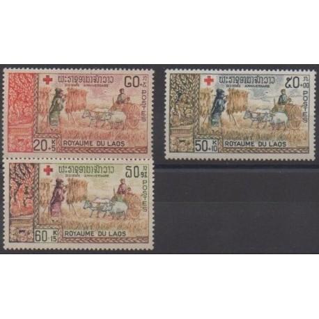 Laos - 1967 - No 164/166 - Santé ou Croix-Rouge