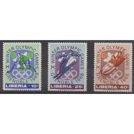 Liberia - 1967 - No 451/453 - Jeux olympiques d'hiver