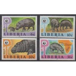 Liberia - 1984 - No 1001/1004 - Mammifères - Espèces menacées - WWF