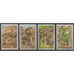 Zambie - 1994 - No 596/599 - Reptiles