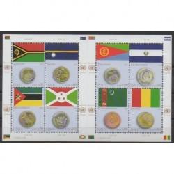 Nations Unies (ONU - Genève) - 2015 - No 893/900 - Monnaies - Drapeaux