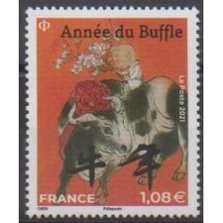 France - Poste - 2021 - Année du buffle - 1.08€ - Grand format - Horoscope