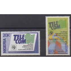 Nigeria - 1991 - No 579/580 - Télécommunications