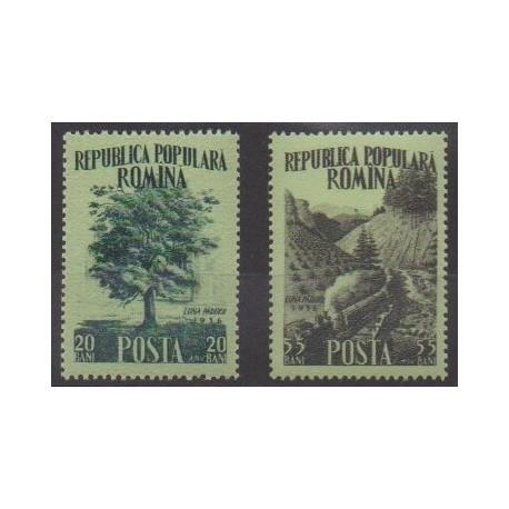 Roumanie - 1956 - No 1451/1452 - Arbres