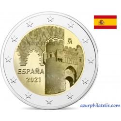 2 euro commémorative - Espagne - 2021 - Puerto del Sol et La Sinagoga del Transito à Tolède - UNC