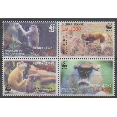 Sierra Leone - 2004 - No 3901/3904 - Mammifères - Espèces menacées - WWF