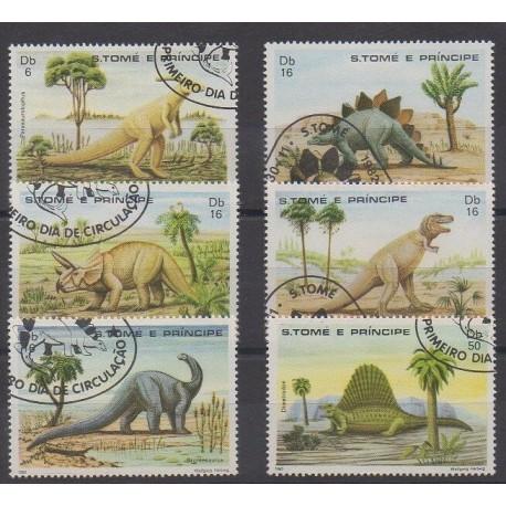 Saint-Thomas et Prince - 1982 - No 695/700 - Animaux préhistoriques - Oblitérés