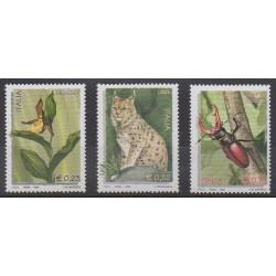 Italie - 2002 - No 2607/2609 - Animaux - Orchidées