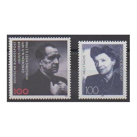 Allemagne - 1991 - No 1406/1407 - Célébrités