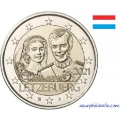 2 euro commémorative - Luxembourg - 2021 - 40 ans de mariage du Grand-Duc Henri - Version relief - UNC