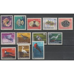 Cocos (Iles) - 1969- No 8/19 - Oiseaux - Coquillages