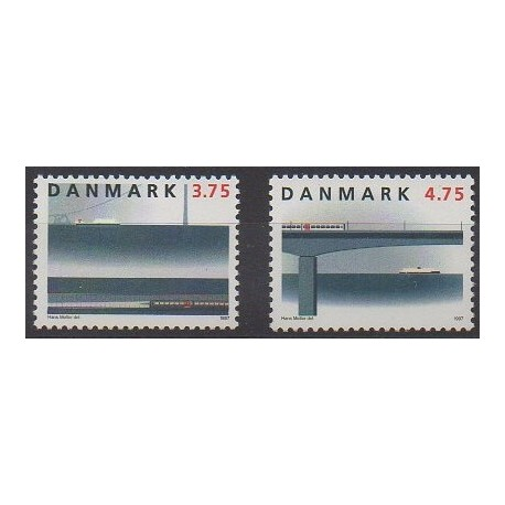Danemark - 1997 - No 1153/1154 - Chemins de fer - Ponts