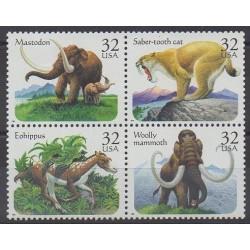 États-Unis - 1996 - No 2510/2513 - Animaux préhistoriques