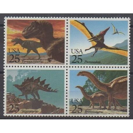 États-Unis - 1989 - No 1873/1876 - Animaux préhistoriques