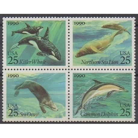 États-Unis - 1990 - No 1917/1920 - Mammifères - Vie marine